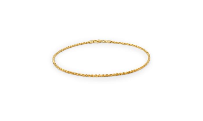 40 Gauge 925 Sterling Silver Gold Plated Rope Anklet Italy Ankle Bracelet
