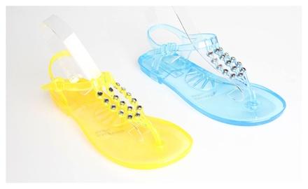 f881863f6 BCBG Jelglitz Rhinestone Jelly Sandals