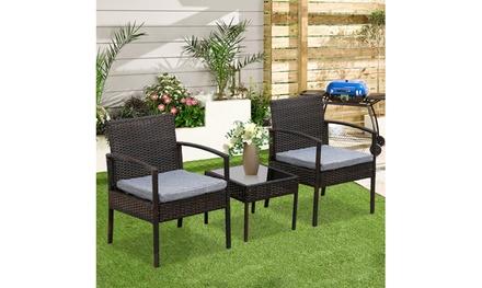 3 Piece Patio Furniture Wicker Rattan Sofa Conversation Set