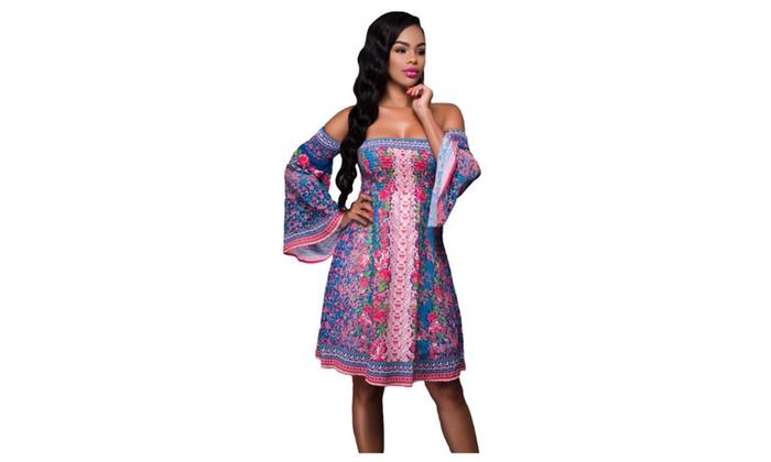 Women's Blue Pink Floral Print Off-shoulder Boho Dress