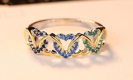 Leo Rosi Heart Ring in Gold & White Gold Filled Valentines Day Gift