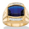 Men's 5.61 TCW Created Blue Sapphire and Diamond 18k Yellow Gold-Plated Ring