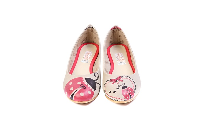 GOBY Women's Shoes ''Beige & Red Ladybug Ballet Flat'' Ballerinas 2009