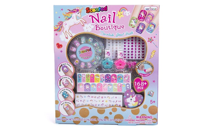 Scented Nail Boutique For Girls 168 Piece Unicorn Nail Art Kit