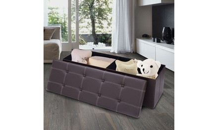 Costway 45''x15''x15'' Large Folding Storage Faux Leather Ottoman Pouffe Box