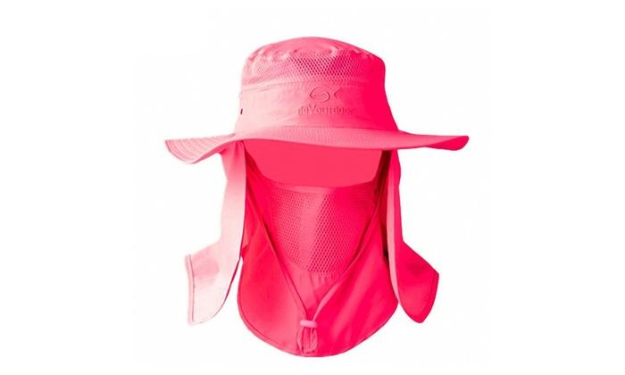 Men Women Fishing Outdoor Hat Sun Protection Neck Face Flap Cap Wide Brim Nylon