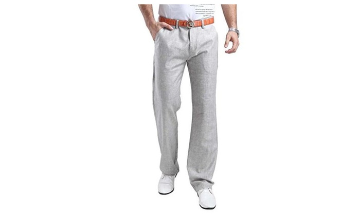 Mens Summer linen Casual Trousers Casual Pants