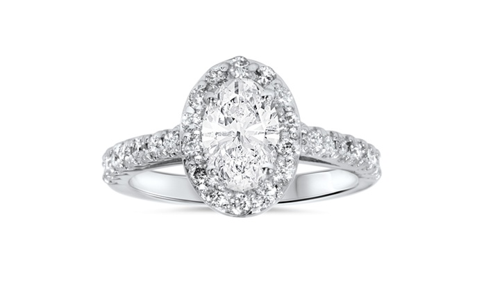 ... 1 1 2ct Oval Clarity Enhanced Diamond Halo Engagement Ring 14K White  Gold dc975efec