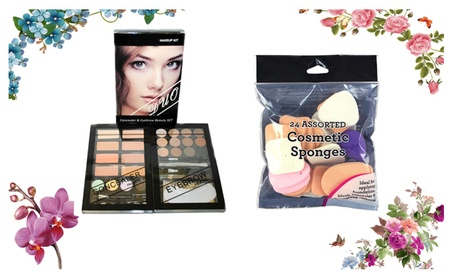 Concealer & Eyebrow Duo Makeup Kit & 24 Pcs Assorted Cosmetic Sponges 48d8dff9-c351-4e80-b77b-c9d22949edf5