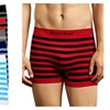 Mens Thick Striped Seamless Boxer Brief 6 Piece Color Variety Set