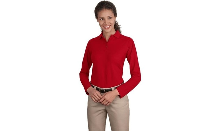 1a62070a7 Port Authority L500LS Ladies Long Sleeve Silk Touch Polo T-Shirt Red One  Size