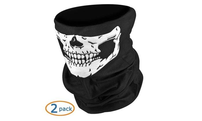 Black Seamless Skull Face Tube Mask