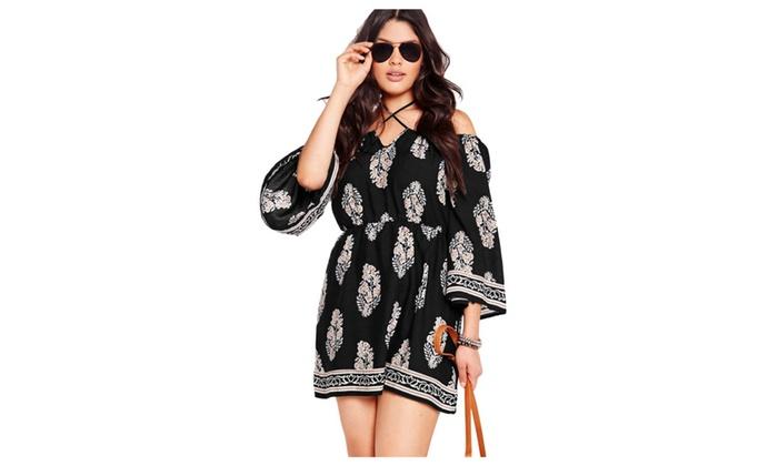 Womens Plus Size Floral Print Bardot Neck Black Off Shoulder Dress