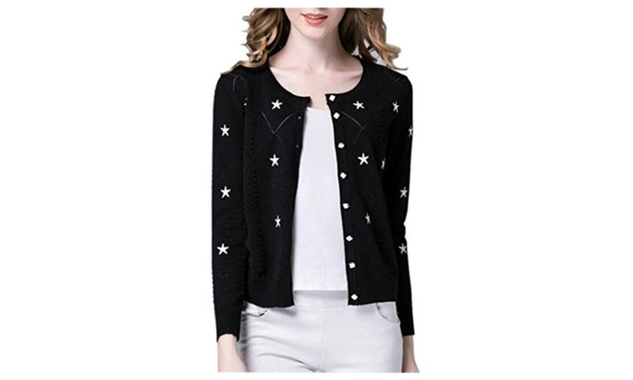 Women Short Knit Cardigan Sweater Long Sleeve Star Print