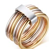 Unique Stainless Steel 6 Circle Interlocked Stacked Women's Rings