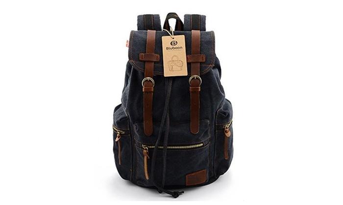 Vintage Men Casual Canvas Leather Backpack Rucksack Satchel Bag