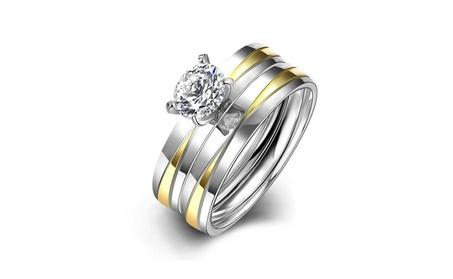 Women's Silver Zircon Crystal Diamonds Ring 2 Pcs a set 2d4af0d2-8649-4d67-b999-5127ee2936ec