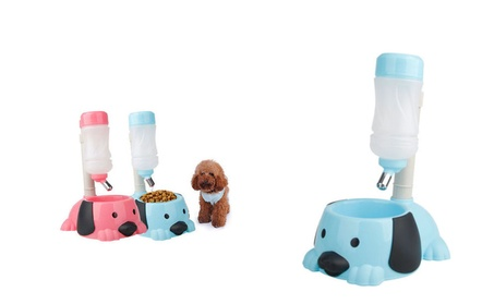 New Pet Cat Dog Puppy 2 in 1 Feeder Stander Water Bottle Food Bowl 7acf376f-1fef-433d-a967-90bb93fb5f7f