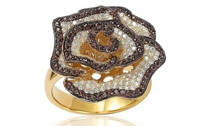 Suzy Levian Golden Sterling Silver Brown & White Cubic Zirconia Pave Flower Ring
