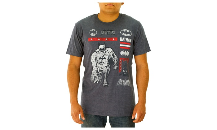 DC Comics Batman with a Lot of Logos Navy T-shirt NEW