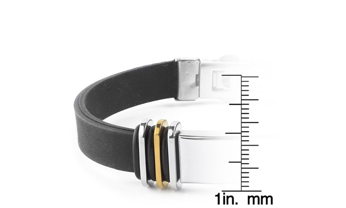 fc26e590d9f51 Men's Stainless Steel with Two-tone Accents Rubber ID Bracelet | Groupon