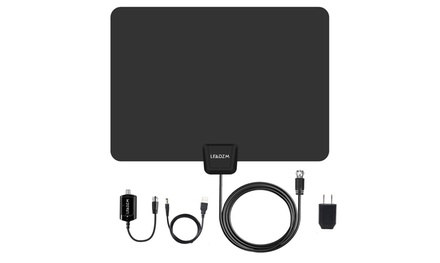 Leadzm50 Miles HD Digital Indoor TV Antenna Black US Plug Was: $39 Now: $14.99.