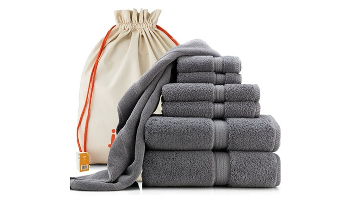 7 Piece Bathroom Towel Set Steel Blue Gray
