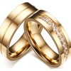Women / Men Love Gold-color Stainless Steel CZ Promise Jewelry