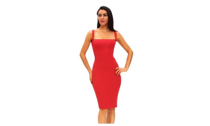 Women's Red Corset-Style Back Lace Up Dress