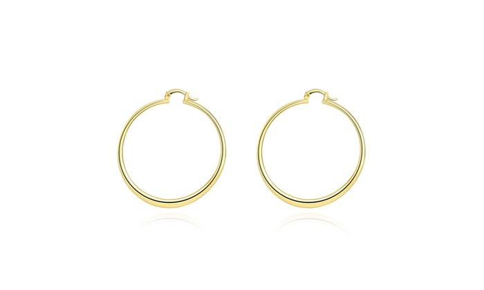 43b30ee4eaee9 Solid Hoop Earrings In 14K Gold Plating - Multiple Options Available ...
