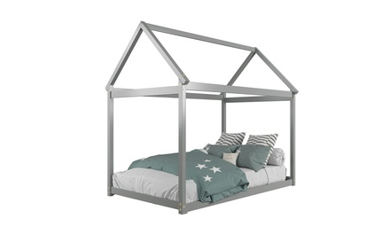Costway Twin House Bed Wood Frame w/ Roof for Kids Toddler No Box Spring