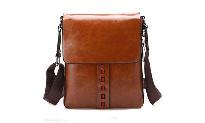 Vintage PU Leather Messenger Bags Crossbody Men Casual Shoulder Bag - Brown / One Size