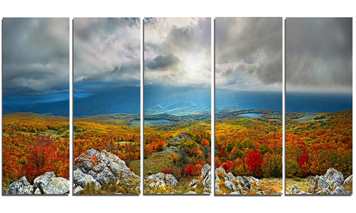 Metal Wall Art Mountain Landscapes : Autumn in crimean mountains landscape metal wall art