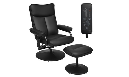 Costway Recliner Chair Lounge Armchair 360 Degree Swivel with Ottoman Black