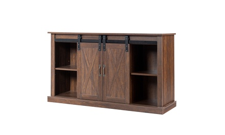 Costway TV Stand Sliding Barn Door Media Center Console Cabinet