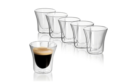 Set of 6 espresso double wall glasses, nespresso cups glass 7e161d4e-6095-4588-857f-93a90a803c00