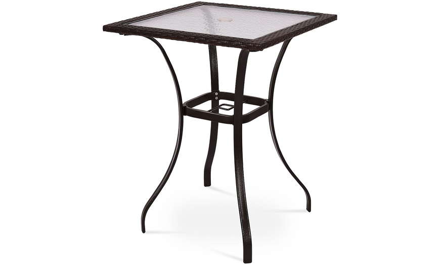 Off On Outdoor Patio Rattan Wicker B, Outdoor Glass Top Bar Table