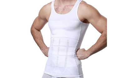 9a8a5d82685af Shop Groupon Elastic Body Shaper Slimming Compression Undershirt For Men