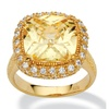 4.54 TCW CZ 18k Gold over Silver Ring