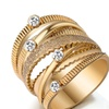 Trendy Gold Color Multilayer Hollow Ring for Women