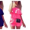 Summer Rompers women Jumpsuit Casual Ruffle Strapless Waist Tightening