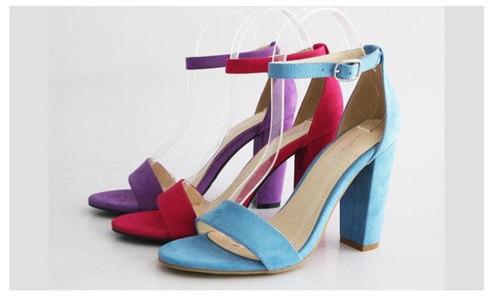 6f328281ee8 Women s Block Heel Single Band Ankle Strap Open Toe Sandal Rampage ...