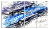 Blue and Purple Muscle Cars Metal Wall Art