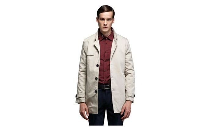 Men's Slim One Breasted Trench Jacket