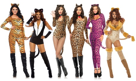 Leg Avenue Women's Wild Tigress Catsuit Set Sexy Tiger Bodysuit Costume