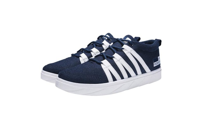 Men's Lace up Solid Microfiber Sneakers