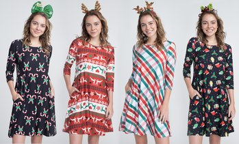 Women's Christmas Print Dress with Pockets and Free Headband - Regular & Plus