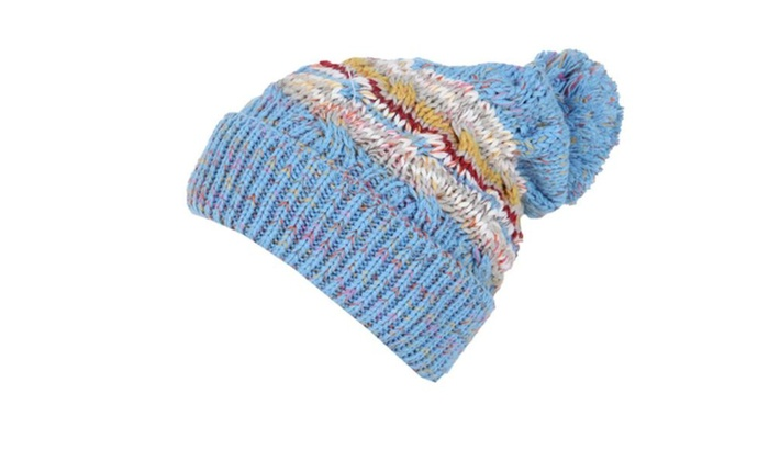 Women's Elastic Closure Pom Pom at top Casual Woollen Hat – Blue / One Size