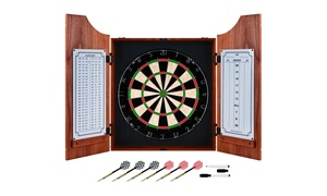 Beveled Wood Dart Cabinet - Pro Style Board and Darts