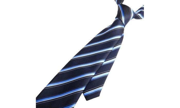 Zodaca Blue Striped Business Wedding Twill Style Necktie Men's Tie